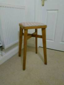 Tall wooden vintage stool, recently recovered.