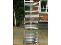Stainless Flat Ladder Towel Radiator 500mm W x 1570mm H, 450mm pipe centres
