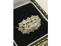 Stunning 1.6ct diamond cluster ring in 18ct white gold