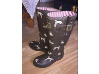 Joules Wellyprint Dog Rubber Wellington Boots size 3