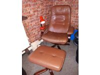 Brown leather recliner with foot