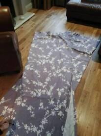 Eyelet lined curtains lavender floral design