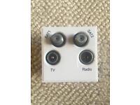 Quad TV radio sat 1 sat 2 sockets
