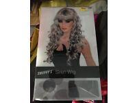 White/grey curl wig