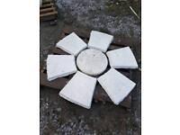 White concrete garden circle