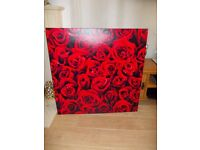 Red roses Large printed wall hanging canvas