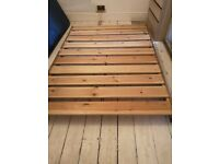 Standard double wooden bed frame and mattress