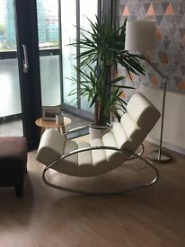 Ripple rocker with chrome legs off white from Dwell