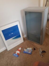 Blue Bathroom Cabinet & wall plagues and picture