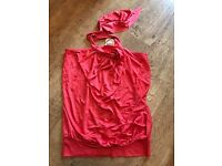 New Women's Coral/Orange Halterneck Top, Oasis, Size XS £5.00