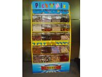 Hancocks Pick and Mix Sweet Display Stand with 20 hoppers on wheels, pic n mix