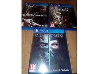 PS4 games: Mortal Kombat X, Dishonored2, Fallout4.