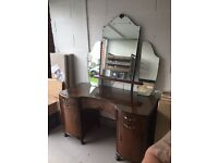 Glass Top Dressing Table with Large Mirrors - Ideal for Shabby Chic