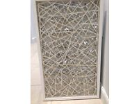 White framed silver and wire abstract wall art
