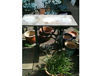 Garden ex tredle sewing machine base with slate top