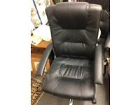 Niceday black leather office desk computer chair seat chrome