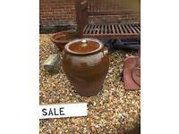 Ornamental glazed pot with lid