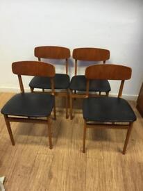 Set of 4 mid century teak chairs