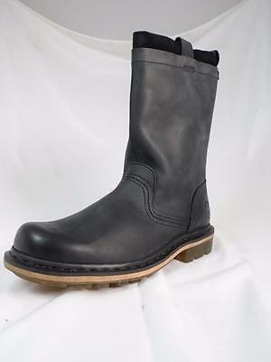 """DR MARTENS """"ALLEN"""" SMOOTH BLACK LEATHER / SUEDE RIGGER PULL ON CALF BOOTS UK 8"""