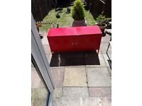 Red metal ikea sideboard unit look great in any room