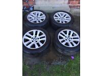 "4x BMW 3 SERIES E90 16"" WHEELS, ALLOYS, RIMS W GOOD TYRES"