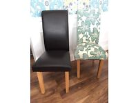 4 Faux leather and wood chairs and 2 patterned material and wood chairs