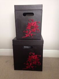 Brown leather storage boxes with flower design