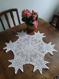 Crocheted doily 70cm white round table decor handmade lovely Christmas decoration lace new cloth