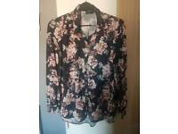 Black and pink floral shirt