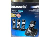 New Panasonic Cordless Telephone quad with Answer Machine, boxed