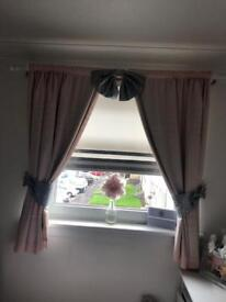 Pink Children's curtains with glitter tie backs and bow