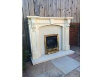 Marble fireplace including living flame gas fire. Slight damage to top.