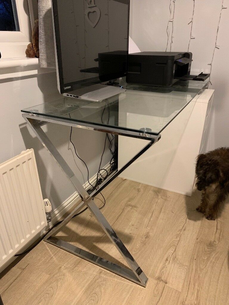 Glass Top Desk For Sale Vgc Only 6 Months Old Cost 119 In