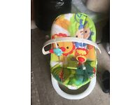 Fisher price vibrating baby bouncer/chair - jungle/animal theme