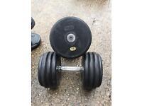 2 x 38kg commercial M & F sports Pro rubber dumbbells