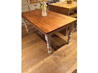 Farmhouse solid pine dining table