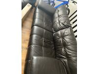 Free if you collect Brown Leather 3pc couch. 2 x arm chairs
