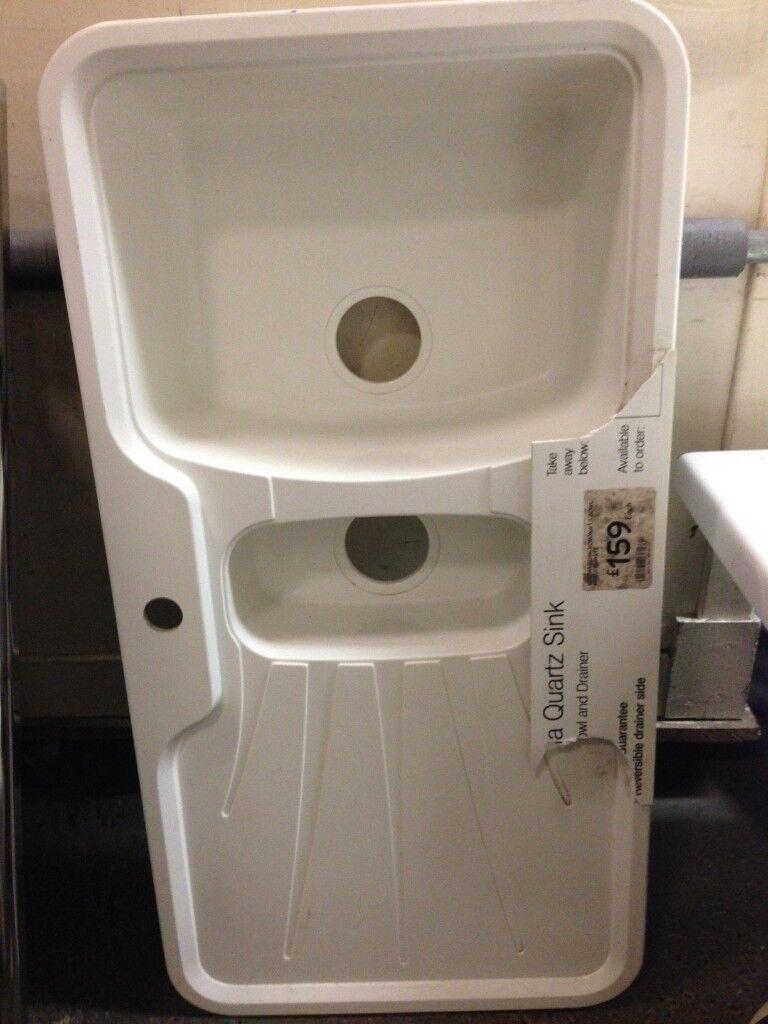Kitchen Sink, Quartz / Ceramic kitchen sink, 1.5 sink. white kitchen ...