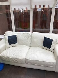 3 seater cream leather sofa for sale