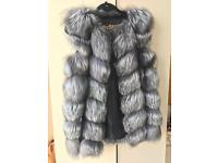 100 % real silver fox fur waistcoat!!!