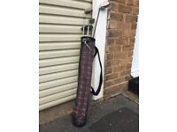Small set of golf clubs with bag