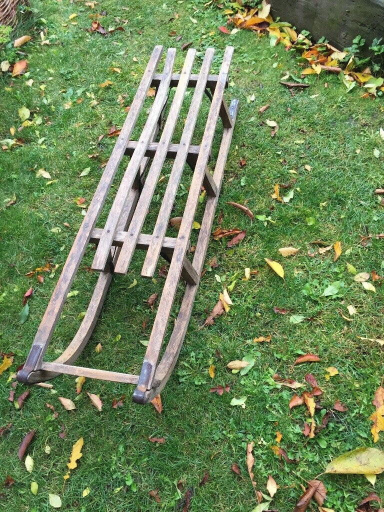 Vintage Wooden Davos style sledge 1960s