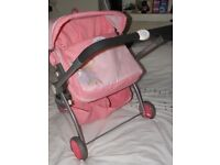DOLLS DOUBLE/TWIN PUSHCHAIR BABY BORN PRAM reversible/reclineable-VGC-Childs/Girls
