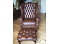 Leather wing chair and stool, chesterfield antique brown