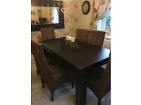 Dining table & 6 chairs & sideboard & mirror