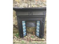 Fireplace...Victorian cast iron fire place with tile insert