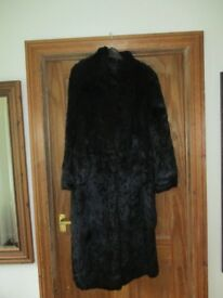 Black retro knee length fur coat