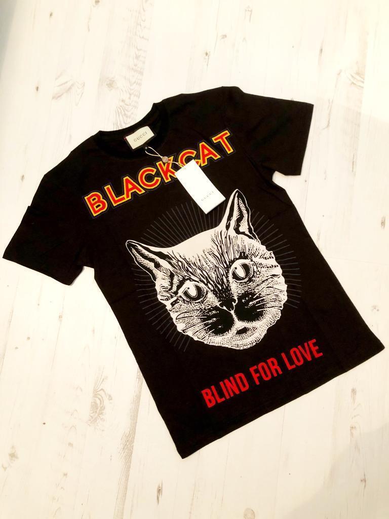e9f014c9a5c Unisex Designer Black Cat T-Shirt Black Medium