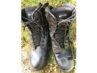Men's MIL COM black leather boots, size 10