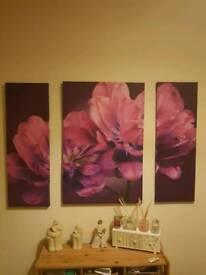 Large 3 piece purple canvas